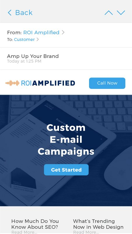 Custom email campaigns from ROI Amplified Digital marketing agency