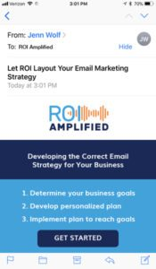 iPhone screen displaying an email from ROI Amplified