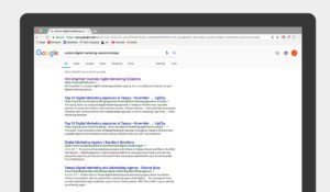 Google search results for custom digital marketing solutions tampa