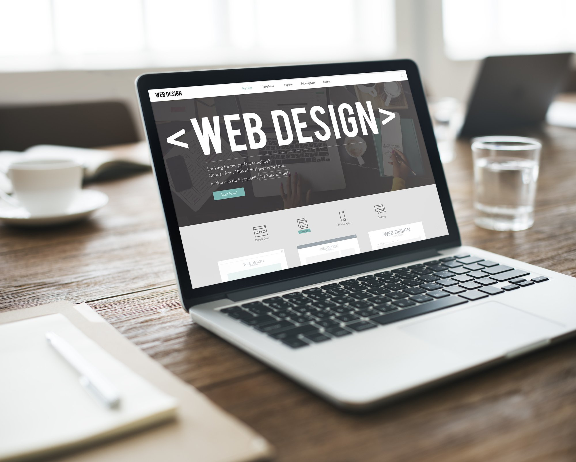 design trends for websites mockup on a laptop