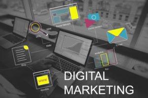 digital marketing graphic displaying marketing aspects