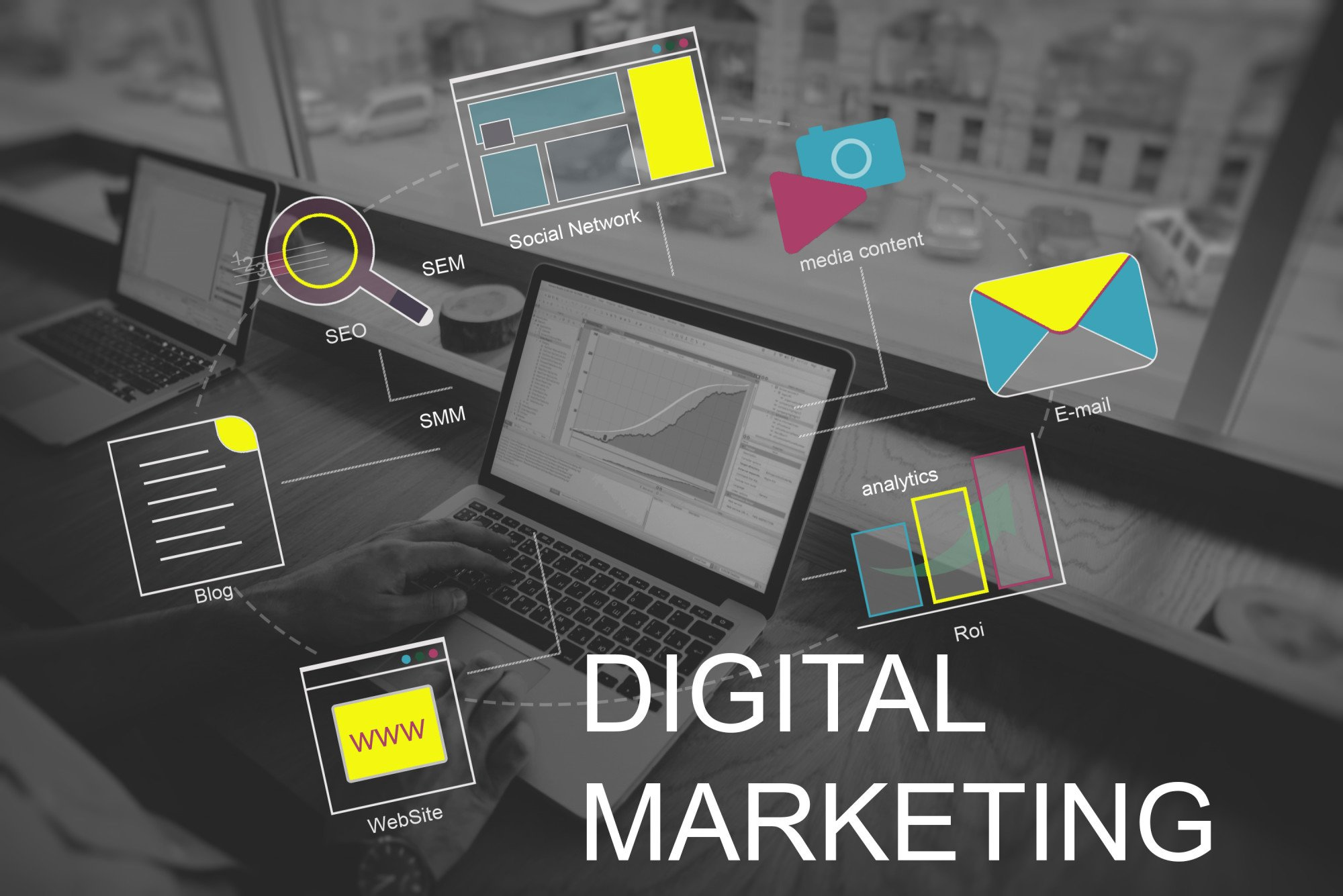 digital marketing graphic displaying marketing aspects