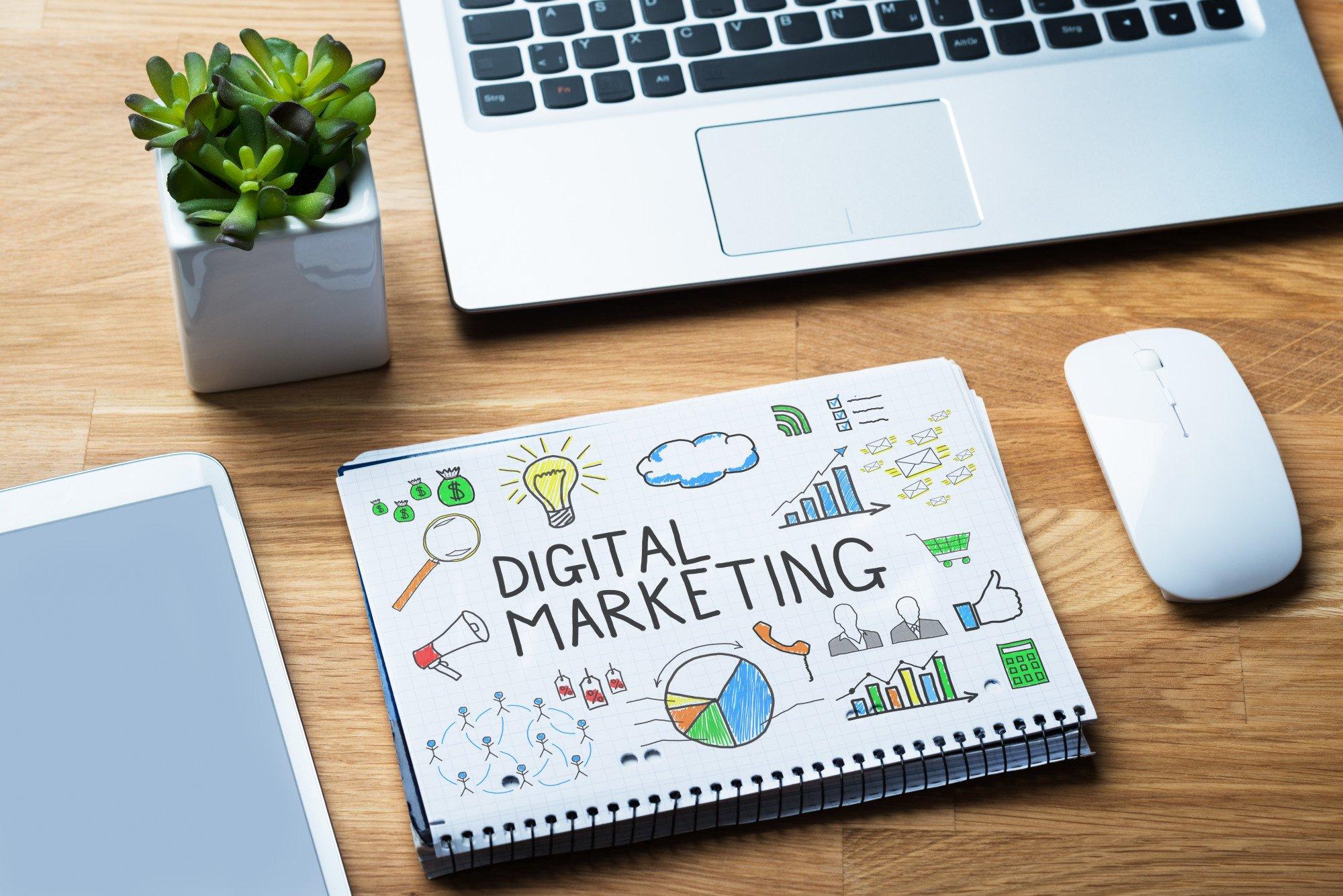 digital marketing sketch on notebook