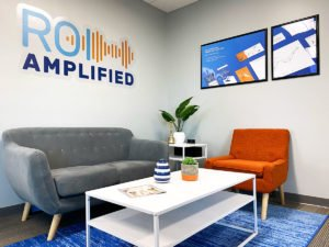 ROI Amplified front of office seating area