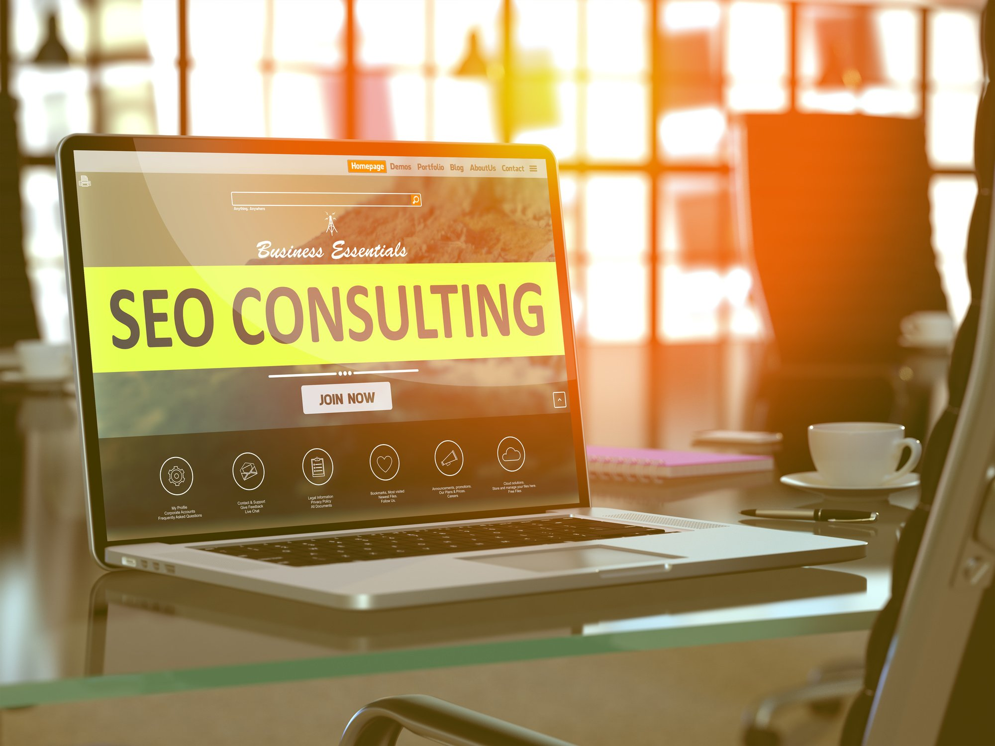 SEO consulting screen pulled up on laptop SEO agency